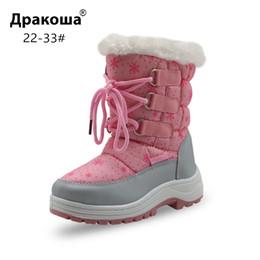 Outdoor Boots Zipper Australia - Apakowa Winter Girls Mid-Calf Plush Snow Boots Little Princess Outdoor Waterproof Boots with Zipper Toddler Kid Anti-slip Shoes Y18110304
