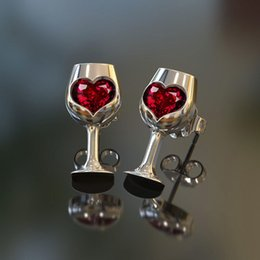 silver charm wine glass UK - Red Color Crystal Cubic Zircon Love Stone Cut Wine Glass Style Earrings for Women Fashion Party Jewelry Valentines Day Gift