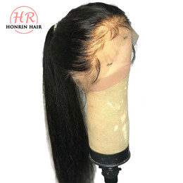 Brown Straight Wig Part Australia - Honrin Hair 13x6 Deep Part Lace Front Wig Silky Straight Pre Plucked Hairline Malaysian Virgin Human Hair 150% Density Bleached Knots