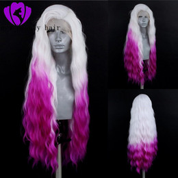 $enCountryForm.capitalKeyWord Australia - High Temperature Fiber Peruca Free Part Long water Wave Blonde Synthetic Lace Front Wig Costume Party style ombre purple wig for women