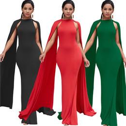 Red Mermaid Casual Dress Australia - 2019 Women's Elegant Party Mermaid Dresses Cloak Sleeve Sheath Bodycon Summer Red Green Black Long Maxi Dress Vestidos Mujer 5213