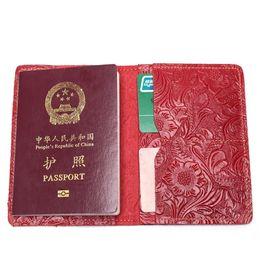$enCountryForm.capitalKeyWord Australia - Flower Passport Wallet Men Genuine Leather Travel Passport Cover Case Document Holder Large Capacity Credit Holder Purse