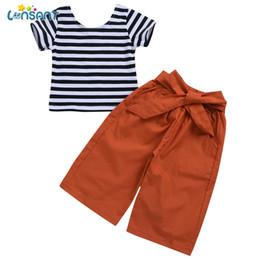 $enCountryForm.capitalKeyWord UK - LONSANT Children Baby Girls Clothing Set Kids Newborn Fashion Summer Striped T-Shirt Tops +Bow Straight Trousers Wide Leg Pants