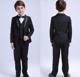 Fashion Formal Boy Suit Australia - Fashion Summer Beach 4Pcs Toddler & Boys Formal Children Tuxedo Wedding Party Suit Black Boys Suits (Jacket+Pants+Vest+Bow Tie)