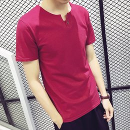 youth summer clothing NZ - 2018 summer new mens short sleeve Tshirt Vneck print casual mens Tshirt solid color clothes pure cotton youth trend