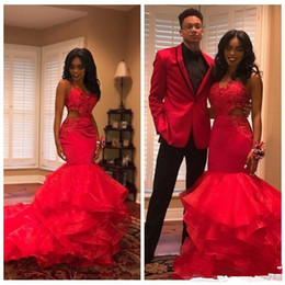 9b7631a74204 2019 Red Spaghetti Straps Organza Mermaid Long Prom Dresses Lace Applique  Cutaway Layered Ruffles Sweep Train Formal Party Evening Gowns