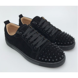 Woman rubber loW heels shoes online shopping - Top Low Cut Spike designer luxury red bottoms shoes unisex men women red bottoms heels Fashion Spikes Studded Spikes Flats Sneakers