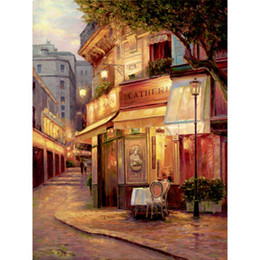 Oil art night landscape paintings online shopping - Hand painted oil paintings street scapes city Landscapes Night of Paris canvas art for wall decor