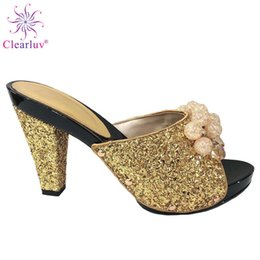 $enCountryForm.capitalKeyWord Australia - Gold Color Italian Lady Sexy High Heels Pumps Decorated with Rhinestone Italian Design African Sandals Shoe for Party Italy Sho