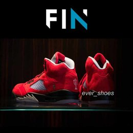 China New Trophy Room x 5 Jumpman FNF dmp raging bulls 5s Red Grey mens Basketball Shoes Sports Sneakers Designer chaussures trainer Sneakers 7-13 cheap low room suppliers