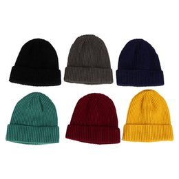 1667682def5 Short Knit Ski Hat Autumn Winter Outdoor Warm Retro Single Layer Cuffed  Vertical Cap Soft Warm Ski Cap