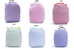 Wholesale Blanks Seersucker Material Lunch Box Cooler Bag with Handle kids food carrier good quality DOM344 on Sale
