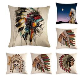 Cuscino indiano lino su un lato, cuscino cuscino, biancheria da letto divano auto, cuscino stampa teschio 45X45cm