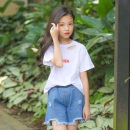 $enCountryForm.capitalKeyWord Australia - 2019 Summer T-shirt Set Girls Denim Shorts Two-piece Cotton Large Children Korean Children's Wear Factory Wholesale
