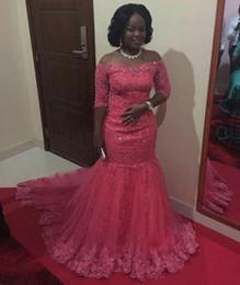 $enCountryForm.capitalKeyWord Australia - African Black Girls Fuchsia Mermaid Prom Dresses Sexy Sheer Applique Lace Half Sleeve Off Shoulder Women Prom Party Gowns