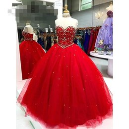 Strapless Sequin Red Dress Australia - Strapless Lace-up Red Sweet 15 Dresses 2019 Ball Gowns Prom Quinceanera Dress Beading Crystal Sequins Tulle vestido de novia For Sweet 16