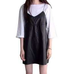 $enCountryForm.capitalKeyWord Australia - Leather Pu Women Dresses Halter Spaghetti Strap Vestidos Solid Black Dress V Neck Spring Mini Robe Female Dress designer clothes