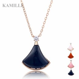 $enCountryForm.capitalKeyWord Australia - Kamille Trendy Creative Skirt Sector Shape Pendant Necklace For Women Girl With Opal Agate Rose Gold Clavicle Chain Jewelry