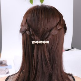 $enCountryForm.capitalKeyWord Australia - Hot Sale 5 Colors Korean Crystal Pearl Elegant Women Barrettes Hair Clip Hairgrips Hair Accessories