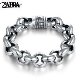 925 thick silver bracelet online shopping - ZABRA Vintage Real Pure Sterling Silver Rolo Chain Thick Bracelet For Men Thai Silver Handmade Punk Bracelets Biker Jewelry