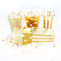Corn Box Australia - 12pcs Popcorn Box Gold Silver Paper Party Popcorn Boxes Pop Corn Candy Sanck Favor Bags Wedding Birthday Movie Party Tableware