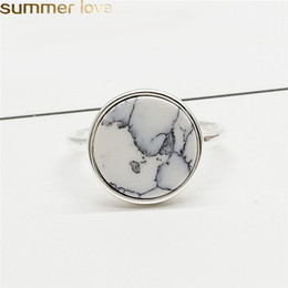 Wholesale Trendy Personalized Marbled Stone Adjustable Rings Black White Marbled Gifts Open Ring Fashion Jewelry for Men Women Finger Ring
