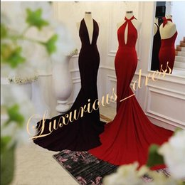 Stretching Straps Australia - Black Red Prom Dresses Long 2019 Elegant Real Sample Halter Backless Stretch Satin Mermaid evening dresses for women With Train
