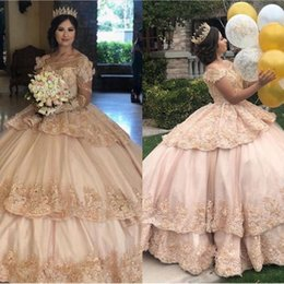 $enCountryForm.capitalKeyWord Australia - 2019 Long Sleeves Ball Gown Quinceanera Dresses Floral Ruffles Layers Applique Lace Beaded Pearls Long Prom Gowns For Sweet 16
