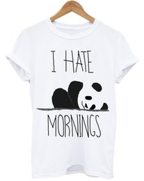 panda bedding NZ - I HATE MORNINGS PANDA LAZY DAYS UNICORN PUGS BED TIME UNISEX WHITE T-SHIRT Men Women Unisex Fashion tshirt Free Shipping