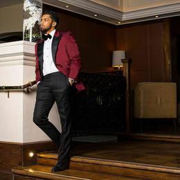 $enCountryForm.capitalKeyWord Australia - Burgundy Custom Groom Tuxedos Slim Men Suits for Wedding Peaked Lapel Best Man Blazer Jacket Pants 2Piece Prom Party Terno Masculino Costume