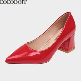 Pointy flats shoes online shopping - Designer Dress Shoes EOEODOIT Women Med High Chunky Heel Slip On Shallow Mouth Patent Leather Pumps Pointy Toe Autumn New Arrival cm