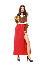 China German Classic Oktoberfest Skirt with Velvet Vest Carnival Beer Girl Dress Mardi Gras Red Cosplay Bavarian Costume Waitress Uniform supplier oktoberfest dress suppliers