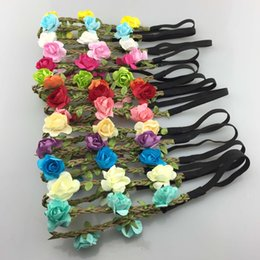 $enCountryForm.capitalKeyWord Australia - Factory direct sales of pure hand-made a large number of spot 14 color rose hair band Beach holiday hair accessories