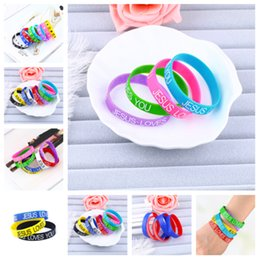 Wholesale new Silicone bracelet candy color alphabet sports bracelet fashion printed rubber wrist band flag bracelet Party Favor gifts T2C5054