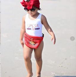 Ingrosso Ins best vendita di fascia alta un pezzo per bambini ragazze tute costumi da bagno stampa lettera costume da bagno per bambini spiaggia abbigliamento 2T-8T