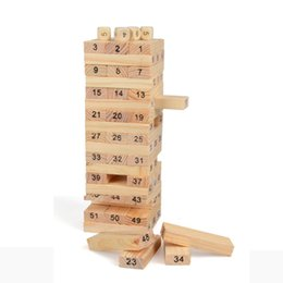 Domino Blocks NZ - 54 pieces Wooden Tower Wood Building Blocks Toys Kids Children Domino Stacker Extract Building Blocks With 4ps Dice Kids Educational Toys