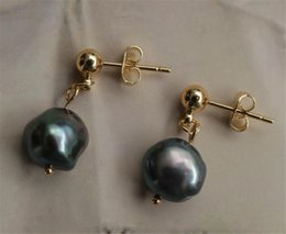 dangler earrings NZ - 9-10MM gray baroque pearl earrings Golden classics Mesmerizing REAL dangler gorgeous flawless grace earbob natural jewelry