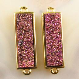 $enCountryForm.capitalKeyWord Australia - 2Pcs Purple Titanium Crystal Agate Druzy Quartz Geode Oblong Pendant Bead