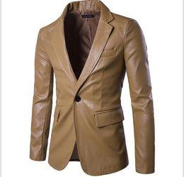 $enCountryForm.capitalKeyWord Australia - New men's plain-color casual suit jacket men's single-row buckle suit