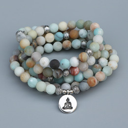 $enCountryForm.capitalKeyWord Australia - Edothalia 8mm Matte Frosted Amazonite Beads Mala Bracelet With Lotus, Buddha Charms Women Meditation Yoga Bracelet Dropshipping Y19051101