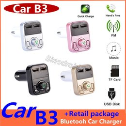 Tf card holder online shopping - Newest B3 Wireless Bluetooth Multifunction FM Transmitter USB Car charger Mini MP3 Player Car Kit Holder TF Card HandsFree Headset Modulator