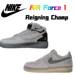 20e437172725f Nike Air Force 1 Air Forcing 1Mid x Reigning Champ RC Suede Chamois MEN  WOMEN SNEAKERS SPORTS RUNNING SHOES 36-45