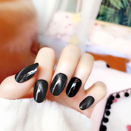 glitter glue NZ - 24pcs box with 2g glue designed Glitter False Nails press on Popular Black Pretty Cat Eye Beauty Artificial Nail tips Stickers