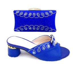 Chinese  New Fashion Shoes and Bag Set African Sets 2019 Ladies Italian Shoes and Bag Set Decorated with Rhinestone Women High Heels manufacturers