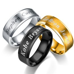 Famous aFrican americans online shopping - 3 Colors Famous Star Name Titanium steel Ring Designer Jewelry Men Rings Luxury Jewelry Mens Wedding Rings Bague Pour Hommes