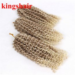 kinky hair braids NZ - 8 Inch Kinky Curly Crochet Hair Extensions 3 Bundles Pack Malibob Crochet Braids Ombre 27 613 Blonde Synthetic Braiding Hair 100g Pack