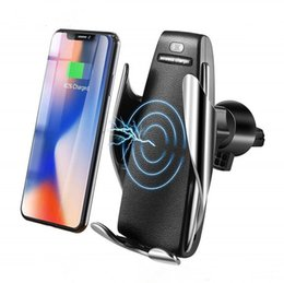 wirless iphone NZ - Car Wireless Charger Automatic Sensor For iPhone Xs Max Xr X Samsung S10 S9 Intelligent Infrared Fast Wirless Charging Car Phone Holder hot