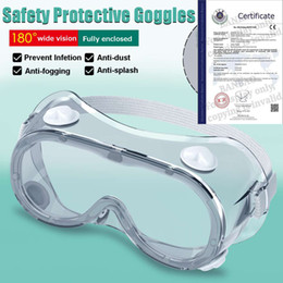 Discount safety mask types 2 Type Protective Safety Glasses Goggles Wide Vision Disposable Indirect Vent Prevent Infection Eye Mask Anti-Fog Splash