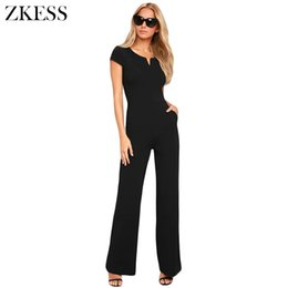 women jumpsuit black high neck UK - Zkess Women Black Daily Fashion Wide Leg Skinny Jumpsuits Casual High Waisted O Neck Playsuits Rompers With Pockets Lc64364 Y19051501