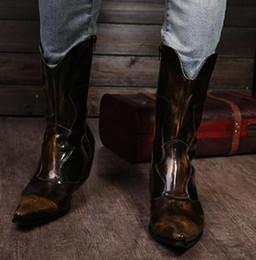Discount cowboy boots wedding dress - Shoes Man Cowboy Black Brown Luxury Brand Italian Increase Dress Wedding Fashion Genuine Leather Pointed Toe Heighten Bo